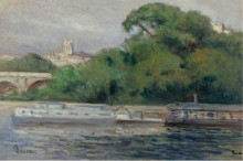 Судна на фоне деревьев и моста - Люс, Максимильен