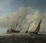 Голландский корабль, яхта и лодка во время бриза - Велде, Виллем ван де (Младший)
