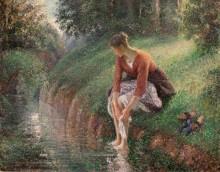 Молодая женщина моет ноги, 1895 - Писсарро, Камиль