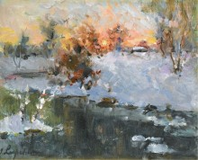 Зимний пейзаж на закате -  Лапшин, Георгий Александрович