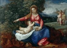 Мадонна с Младенцем на фоне пейзажа с Товией и ангелом - Тициан Вечеллио