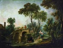Пейзаж с мостом - Буше, Франсуа