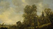Вид деревни на реке - Гойен, Ян ван