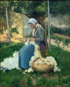 Крестьянка, распутывающая шерсть - Писсарро, Камиль