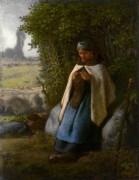 Пастушка за вышиванием - Милле, Жан-Франсуа