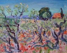 Оливковый лес и маки - Сейсад, Рене