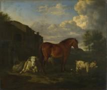 Животные рядом со зданием - Велде, Адриан ван де