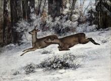 Зимний пейзаж с оленями - Курбе, Гюстав