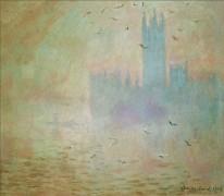 Чайки над зданием Парламента в Лондоне - Моне, Клод