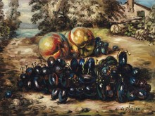 Натюрморт с фруктами на фоне пейзажа - Кирико, Джорджо де