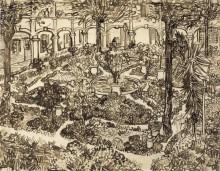 Двор больницы в Арле (The Courtyard of the Hospital of Arles), 1889 - Гог, Винсент ван