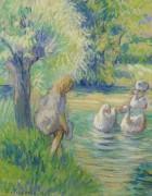 Прачка и гуси, Эрани, 1890 - Писсарро, Камиль