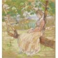 Девочка, сидящая на дереве, 1908-13 -  Бюхр, Карл Альберт