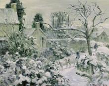Снежный пейзаж с коровами - Писсарро, Камиль