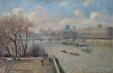 Вид на Лувр с Нового моста - Писсарро, Камиль