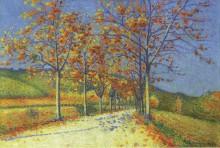 Дорога с миндальными деревьями осенью - Ложе,  Ашиль
