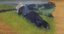 Крестьянка, лежа на траве, 1890 - Кросс, Анри Эдмон