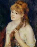 Молодая женщина, заплетающая косу - Ренуар, Пьер Огюст