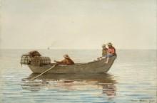 Три мальчика в рыбацкой лодке с корзиной для лобстеров - Хомер, Уинслоу