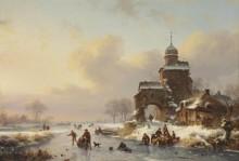 Конькобежцы на замерзшей реке близ замка - Круземан, Фредерик Маринус
