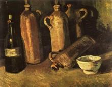 Натюрморт с четырьмя глиняными бутылями, флягой и белой чашей (Still Life with Four Stone Bottles, Flask and White Cup), 1884 - Гог, Винсент ван