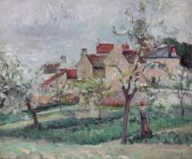 Цветущие сливы, Понтуа, 1876 - Писсарро, Камиль