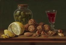 Натюрморт с грецкими орехами, банкой и бокалом -  Парра, Мигель