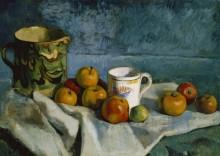 Натюрморт с яблоками, чашкой и кувшином - Сезанн, Поль