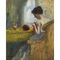 Молодая женщина, занятая вышиванием - Манген, Анри