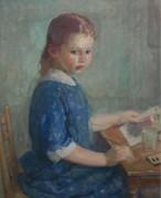 Дочь художника Лидия рисует акварелью, 1912-13 -  Бюхр, Карл Альберт