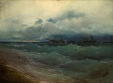 Корабли в шторм на заре - Айвазовский, Иван Константинович