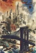 Бруклинский мост и панорама Нью-Йорка - Грос, Георг