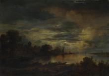 Деревня возле реки в лунном свете - Нер, Арт ван дер
