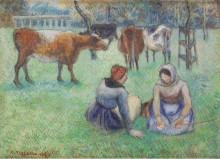 Крестьянки, пасущие коров, 1886 - Писсарро, Камиль
