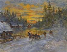 Тройка на закате - Коровин, Константин Алексеевич