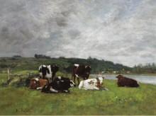 Коровы на пастбище,  1880-85 02 - Буден, Эжен