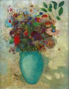 Цветы в бирюзовой вазе - Редон, Одилон