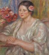 Дама в белом с розой в волосах - Ренуар, Пьер Огюст