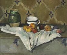 Натюрморт с кувшином, чашкой и яблоками - Сезанн, Поль