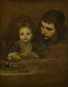 Мужчина и ребенок едят виноград
