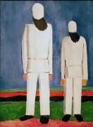 Два мужика на синем фоне - Малевич, Казимир