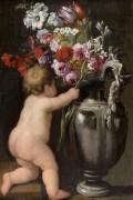 Серебряная ваза с цветами и путто - Брейгель, Абрахам