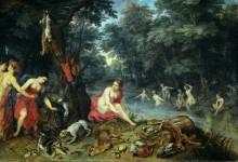 Нимфы Дианы, возвращающиеся с рыболовли - Брейгель, Ян (Старший)