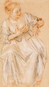 Сидящая женщина - Ватто, Жан Антуан