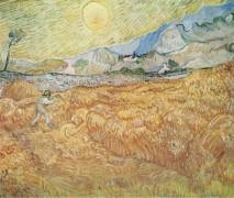 Пшеничное поле с жнецом и солнцем (Wheat Field behind Saint-Paul Hospital with a Reaper), 1889 - Гог, Винсент ван