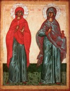 Святые Параскева и Анастасия, Новгородская школа, 15 век, 75х58