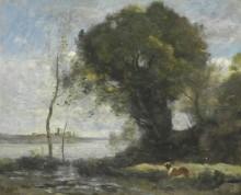 Пейзаж с собакой на берегу озера - Коро, Жан-Батист Камиль