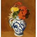 Герании и другие цветы в керамической вазе - Редон, Одилон