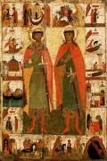 Свв.Борис и Глеб с житием (клейма) (2-я половина XIV века) (134 х 89 см) - Феофан Грек