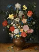 Натюрморт с ирисами, розами, тюльпанами, нарциссами, незабудками, подснежниками и другими цветами в керамической вазе - Брейгель, Ян (Старший)